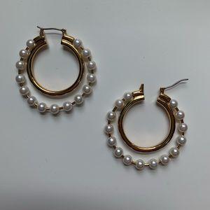 JCrew double hoop pearl earrings